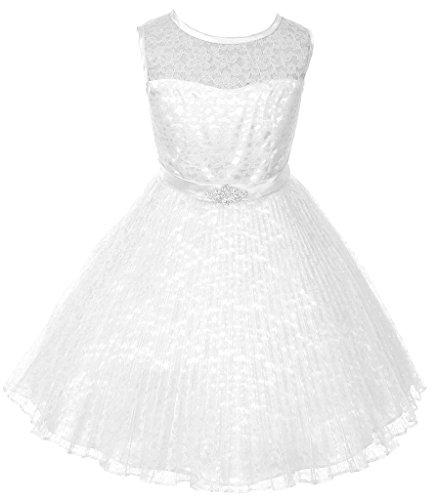 iGirlDress Big Girls Pleated Lace Flower Girl Dress 14 White]()
