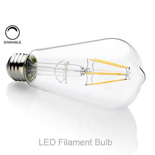FluxSmart 8W Dimmable Edison Style Vintage LED Filament Light Bulb, 2700K Warm White, 800 Lumen, E26 Base ST21/ST64 Lamp, 60W Incandescent Bulb Equivalent (8)