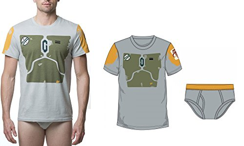 Nice STAR WARS BOBA FETT MEN'S UNDEROOS TEE AND UNDERWEAR SET for cheap