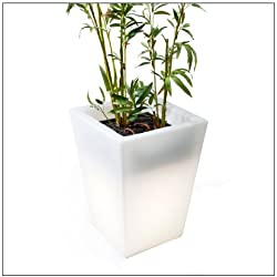 OFFI Home MEG-HUGO550 Hugo Pot Short Lighted Planter, White