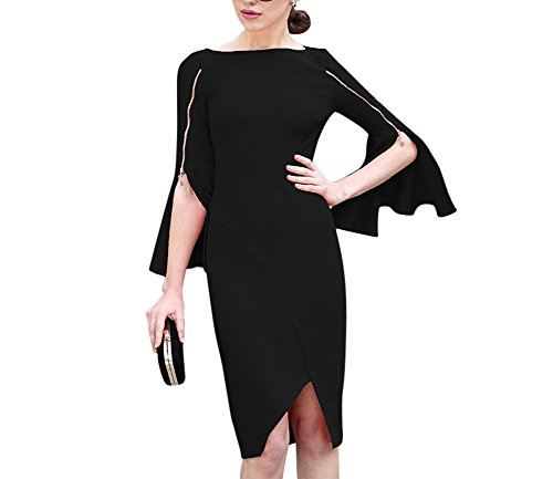' Elegant Long Flare Bell Sleeve Zipper Split Knee Length Bodycon Cocktail Party Club Midi Dress Black, X-Large (Black Zipper Dress)