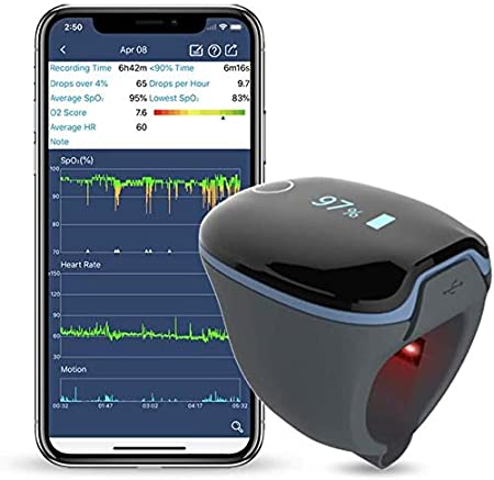 Oxygen Saturation Monitor, Sleep Oxygen Monitor, Overnight for Tracking Low SpO2 Level and Heart Rate, Free APP PC Report Share with Your Family