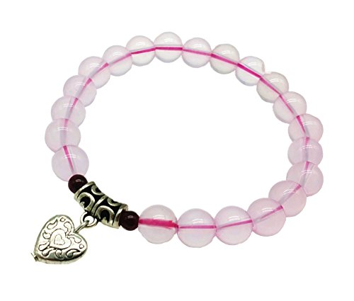 Feng Shui Handmade Rose Quartz Beads Bracelet amulet with a Heart for Love (with a Betterdecor Pounch)