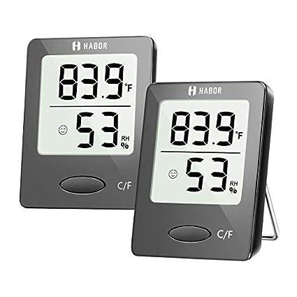 amazon com habor 2 pieces digital hygrometer indoor thermometerhabor 2 pieces digital hygrometer indoor thermometer, mini room thermometer with humidity gauge indicator,