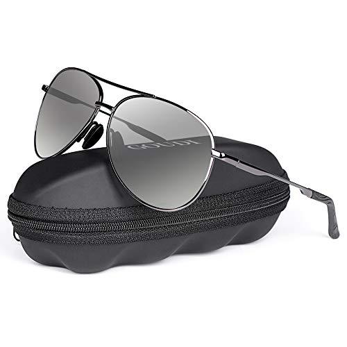 Polarized Photochromic Aviator Sunglasses for Men - goudi Metal Frame driving UV 400 Protection Mens Women Mirror Sunglasses -