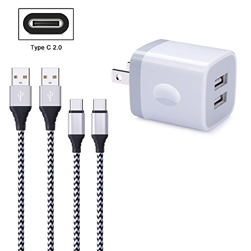 FiveBox 2Pack 6FT USB Type C Charger Cable Cord Compatible LG Stylo 4, LG G6 G7 V35 V30S ThinQ, Google Pixel XL, Samsung Galaxy S9 S8 Note 9 8, with 2.1A USB Wall Charger Brick Box Charging Block Cube