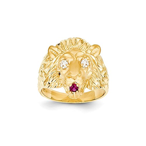 Size 9.5 - Solid 14k Yellow Gold Lion with CZ Cubic Zirconia Eyes and Red Synthetic Tongue Ring (14k Solid Gold Tongue Ring)