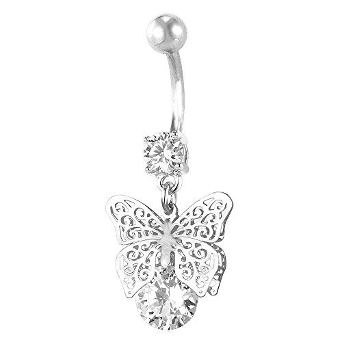 Belly Butterfly Ring Crystal - U7 Hot Women Body Piercing Jewelry Cubic Zirconia Crystal Butterfly Dangle Belly Ring 18K Gold Plated Navel Jewelry
