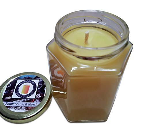 (Hubbardston Candle Company Frankincense & Myrrh Scented 100% Beeswax Jar Candle, 8 Ounce Hand Poured )