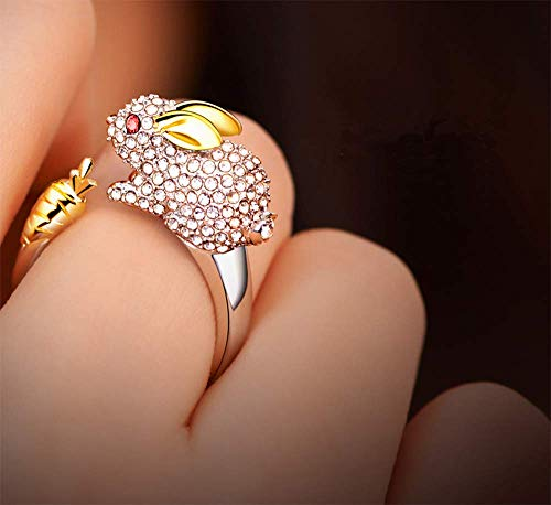 Aimys Crystals Lovely Opening Ring Bunny Rhinestone Animal Rings for Women Rabbit Chinese Zodiac Ring Sterling Silver for Women Gold Zircon Cuff Adjustable Jewelry