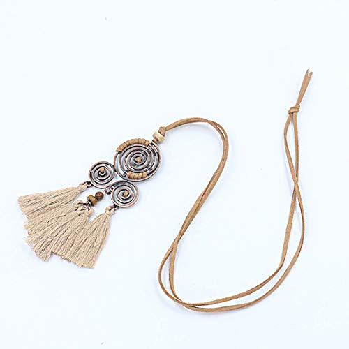 ALIER Bohemian Fringe Tassel Pendant Rope Suede Adjustble Long Necklac for Girls and Women-Beige