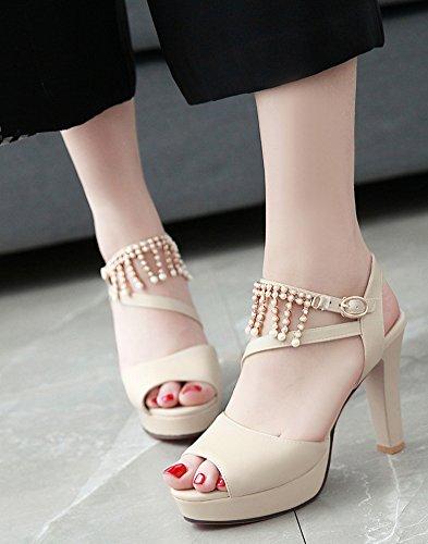 Aisun mit Damen Sandalen Dressy Beige Knöchelriemen Perlen RwR0ar