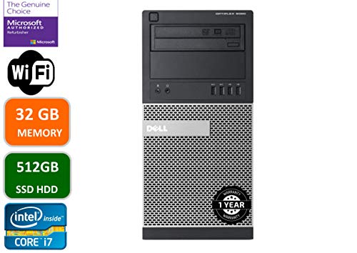 Dell Optiplex 9020 Mini Tower Desktop PC, Intel Core i7-4770-3.4 GHz, 32GB Ram, 512GB SSD WiFi, DVD-RW, Windows 10 Pro (Renewed)
