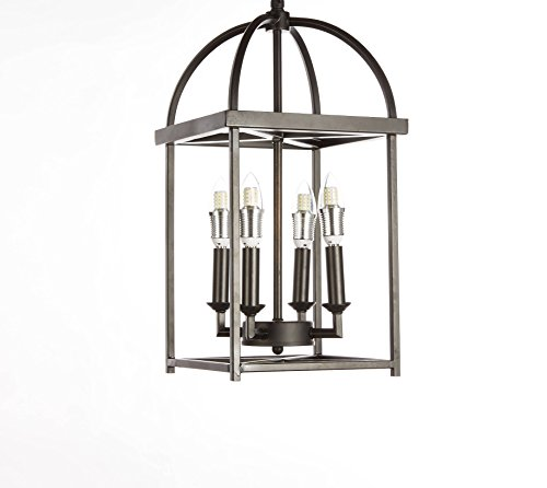 New Legend Lighting Antique Black finish 4-light Hanging Lantern Iron Frame Pedant Chandelier (Black Finish Iron)