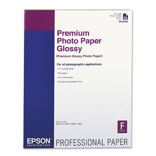 Epson - Premium Photo Paper, 68 lbs., High-Gloss, 17 x 22, 25 Sheets/Pack S042092 (DMi PK