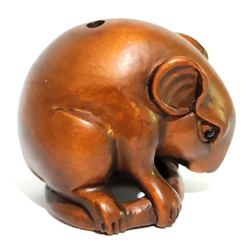 Y4945-1.2'' Nice Quanlity Hand Carved Boxwood Netsuke: Lovely Mouse Rat