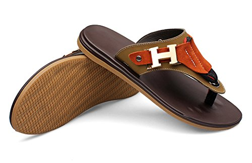 Abby Qzyyu-018 Hombres Casual Open Split Toe Ocio Flat Beach Slide Vogue Antideslizante Chanclas Snug Al Aire Libre Open Back Zapatos Street Zapatillas De Piscina De Moda Soft Tanga Marrón