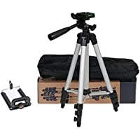 Tripod-3110 Portable Adjustable Aluminum Lightweight Camera Stand with Three-Dimensional Head & Quick Release Plate for Video Cameras and Mobile Tripod Tripod (Black, Silver, Supports Up to 1000 g)