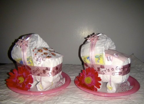 Diaper Cake Stroller Centerpiece or Gift (Baby Girl) by Little KG's Dreams