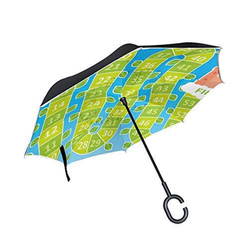 Jojogood Beanstalk Board Game Inverted Umbrella Reverse Auto Open Double Layer Windproof UV Protection Upside Down Umbrella for Car Rain Outdoor Use