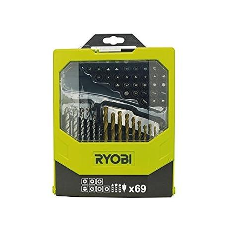 Ryobi RAK69MIX - Juego de brocas para taladro y puntas para destornillador (69 piezas, incluye caja plegable)