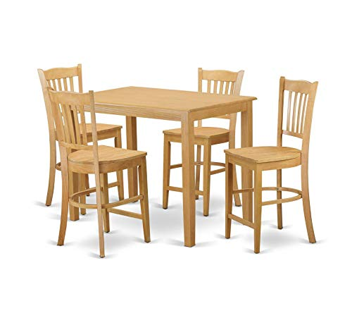 Deluxe Premium Collection 5 Piece Pub Table and 4 Counter Height Stool Set Oak Finish Decor Comfy Living Furniture