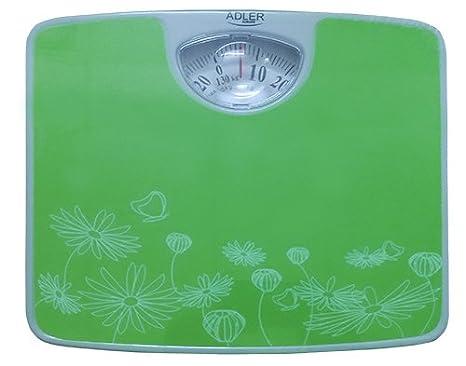 Adler AD 8145g - Báscula de baño mecánica, color verde con flores blancas: Amazon.es: Salud y cuidado personal