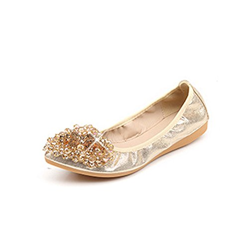 Ballet 5 2018 Bead String Plus 062 Sequined 5 Kenavinca Size Spring Ladies Women Loafers Driving Casual Shoes Golden Flats Folding Cloth Flats Woman Bx8WBnatq