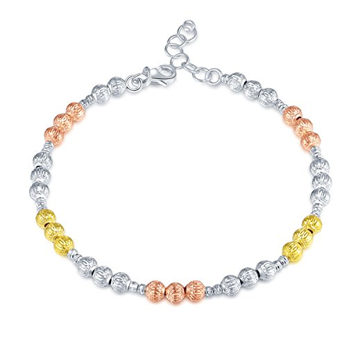 MaBelle 14K Tri-Color Gold Rose, Yellow, White Big and Small Beads Link Bracelet (7.25