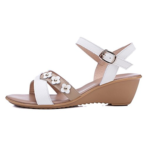 Amoonyfashion Donna Gattina Morbido Materiale Fibbia Open Toe Zeppe-sandali Con Fiori Bianchi