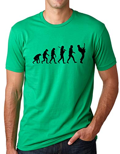- Think Out Loud Apparel Guitar Player Evolution Funny T-Shirt Guitarist Musician Tee T Shirt Green Large