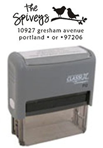CREATIVE AND ARTISTIC ADDRESS STAMPS - QUALITY CUSTOM CLASSIX DESIGNER RECTANGLE ADDRESS STAMP Birds Silhouetted On A Branch Design This Self-Inking Stamp Is Perfect For Personal, Family, Business, Wedding And Event Needs -- Makes A Wonderful Gift Available In Eight Vibrant Colors! (Silhouetted Bird)