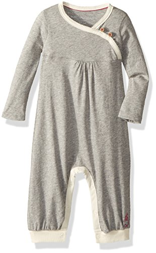 Burt's Bees Baby Baby Girls' Wrap Front Coverall, Heather Grey, 6-9 (Infant Coverall)
