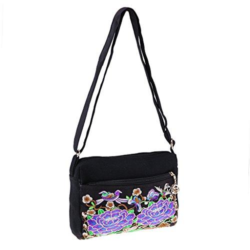 Homyl Shoulder Bag Boho Totes Women 24x17cm 2 Vintage Flower Handbag Embroidery 08ar0qw