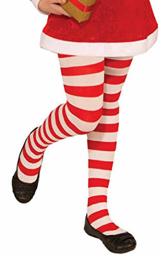 Forum Novelties Novelty Candy Cane Striped Christmas Tights, Child Medium