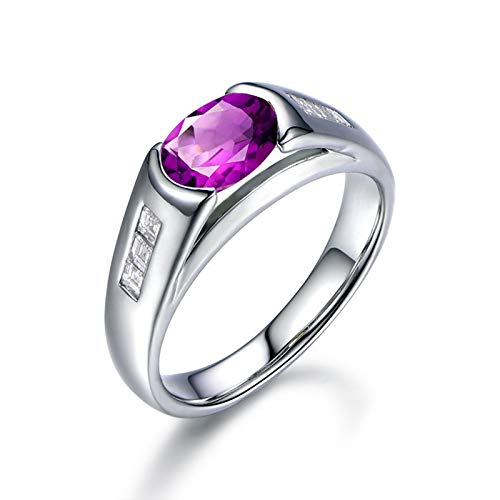 ANAZOZ Oval Purple 6x8MM Amethyst Rings S925 Sterling Silver Wedding Rings for Women Silver Size - Halo 4 Triton