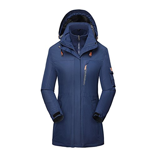 Women's 3 in 1 Waterproof Insulated Ski Snowboard Interchange Jackets Rain Coat Blue-mid-length US-S/Tag-XL(5.4'/115bl)