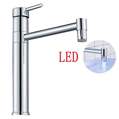 - Suguword Chrome Polished Single Handle One Hole Bathroom Sink Faucet with 3 Colors Changing LED Commercial Cold &Hot Bathroom Vessel Faucet