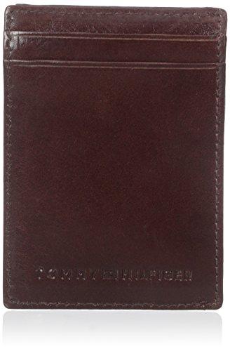 Tommy Hilfiger Men's Leather Slim Front Pocket Wallet, Tan, One Size