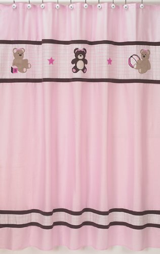 Sweet Jojo Designs Pink and Chocolate Teddy Bear Kids Bathroom Fabric Bath Shower Curtain