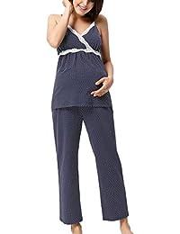 Women s Maternity Nursing Pajamas Set Polka Dot Sleepwear Set for  Breastfeeding a1ca4b384