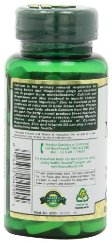 Nature's Bounty Calcium Carbonate Pills with Magnesium and Zinc Mineral Supplement, Supports Bone Strength and Health, 1000mg, 100 Caplets by Nature's Bounty (Image #7)