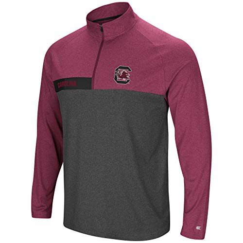 (Colosseum Men's NCAA-No Mercy-1/4 Zip Pullover Windshirt-South Carolina Gamecocks-Heather Garnet-XL)