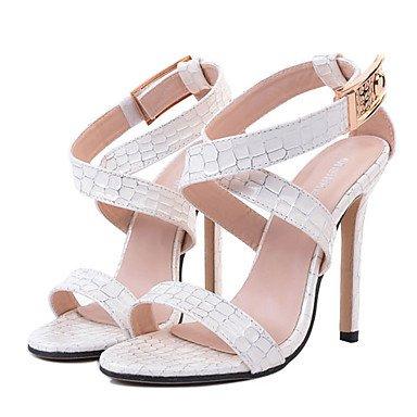 966f0e0e556 ... LvYuan Mujer Sandalias Cuero Patentado Verano Pedrería Tacón Stiletto  Blanco Negro 10 - 12 cms White ...