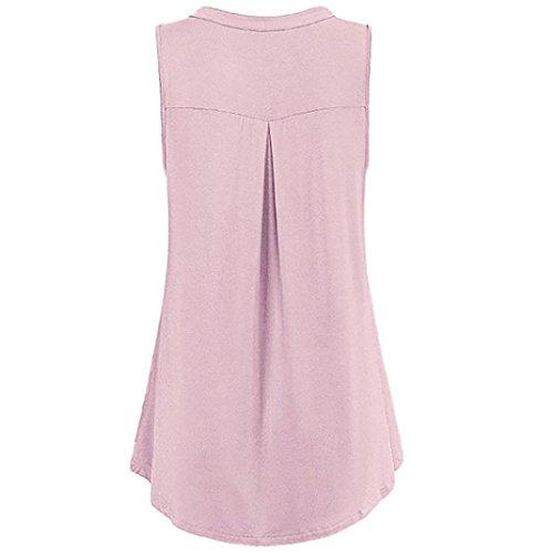 unita Donna bottoni Manica SANFASHION Bekleidung con Corta Rosa Rimovibile shirt Tinta T wIgIvqY