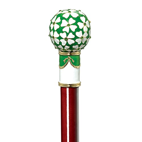 Design Toscano Imperial Collection Romanov Style Premium Enameled Four Leaf Clover Walking Stick, Full Color (Four Leaf Clover Gem)