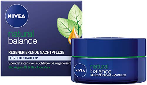 Genuine Authentic german Nivea Natural Balance Regenerating Night Care Face Cream for all skin types 1.7fl oz. (50ml) - Imported from Germany (Nivea Pure And Natural Day Cream Ingredients)