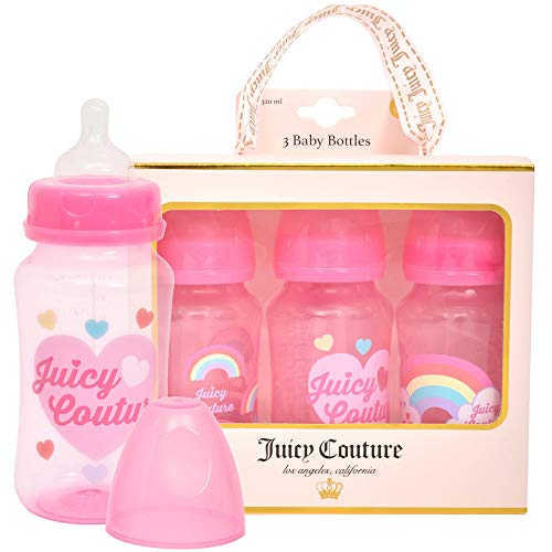 Juicy Couture 11oz Baby Bottle, 3 Pack Set in Gift Package- Newborn and Infant Bottles- BPA Free- Anti Colic Valve Feature- Perfect gift for Baby Registry (Juicy Couture Ring Set)