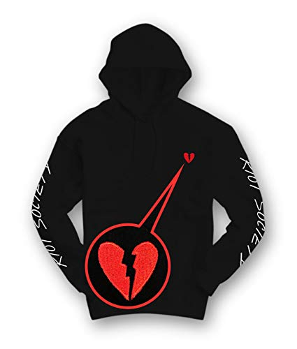 Riot Society Broken Heart Embroidered Womens Hoodie - Black, Large
