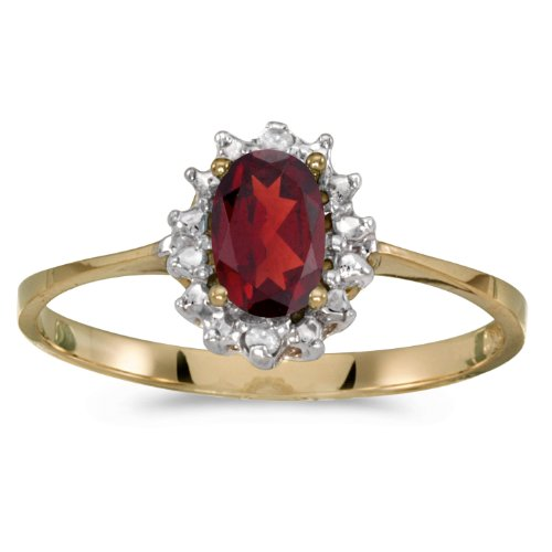 14k Yellow Gold Oval Garnet And Diamond Ring (Size 9) by Direct-Jewelry